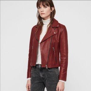 ALLSAINTS Dalby Biker Red Leather Jacket US 0/UK 4